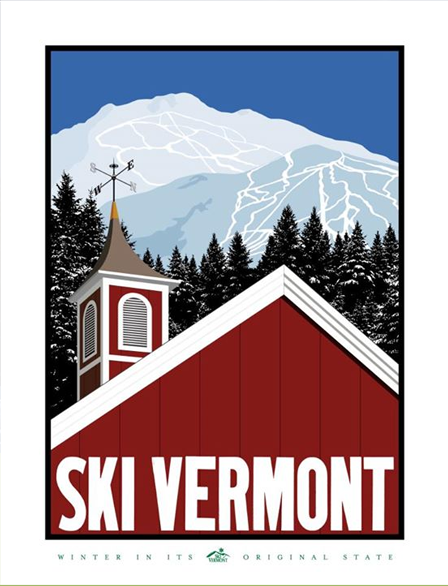 Ski Vermont poster. Mount Mansfield, Stowe, in the background.