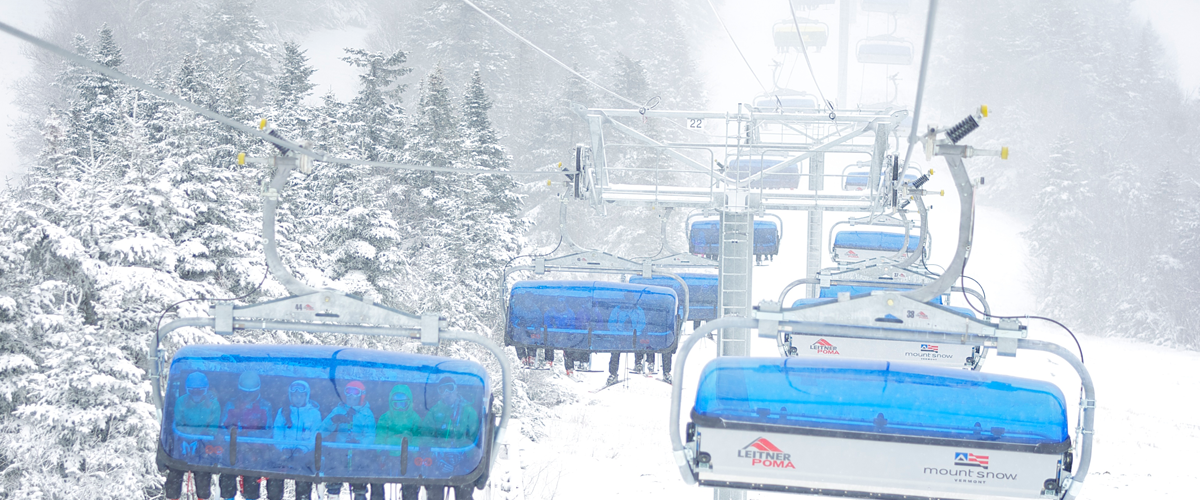 Mount Snow is  Vermont's closest big mountain resort and home to the Bluebird Express; the nation's only six passenger bubble chair!